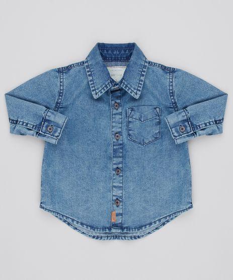 f5da37d6bd Camisa-Jeans-Infantil-com-Bolso-Manga-Longa-Azul-
