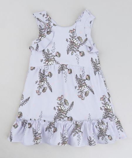 988ef7ed9 Menor preço em Vestido Infantil Estampado Floral com Babados Sem Manga  Decote Redondo Lilás