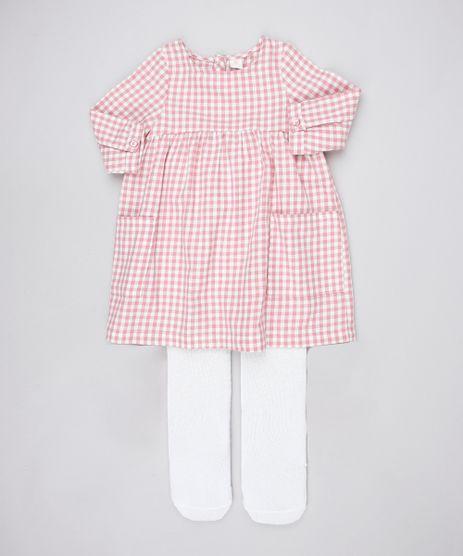 Vestido-Infantil-Estampado-Xadrez-Manga-Longa----Meia-Calca-Rosa-9450985-Rosa_1