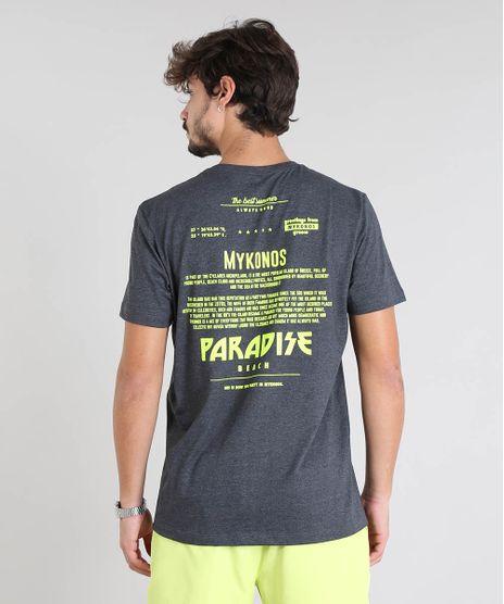 Camiseta-Masculina-com-Estampa-Neon--Paradise-Beach--Manga-Curta-Gola-Careca-Cinza-Mescla-Escuro-9601070-Cinza_Mescla_Escuro_1