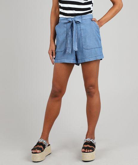 Short-Jeans-Feminino-com-Faixa-para-Amarrar-Azul-Medio-9587512-Azul_Medio_1