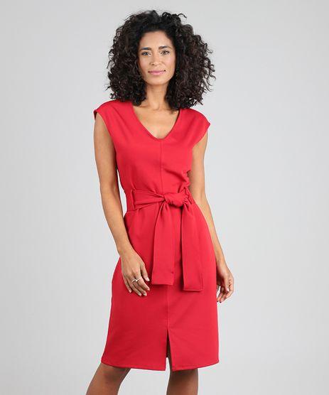 Vestido-Feminino-Curto-com-Pespontos-e-Faixa-para-Amarrar-Vermelho-9571957-Vermelho_1