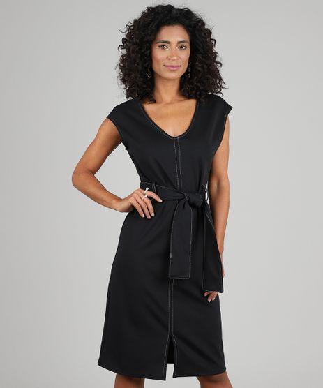 Vestido-Feminino-Curto-com-Pespontos-e-Faixa-para-Amarrar-Preto-9571957-Preto_1