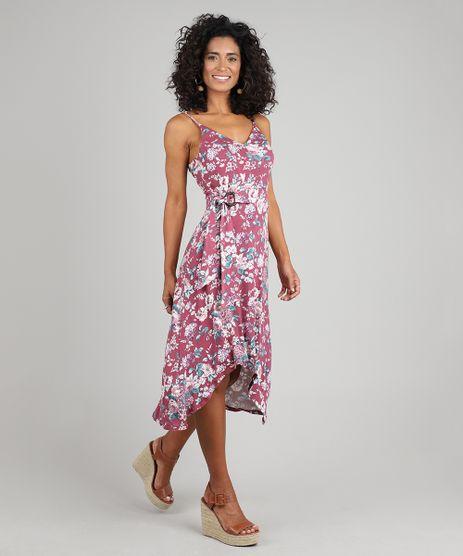 Vestido-Feminino-Midi-Mullet-Estampado-Floral-com-Argola-Alcas-Finas-Vinho-9572450-Vinho_1