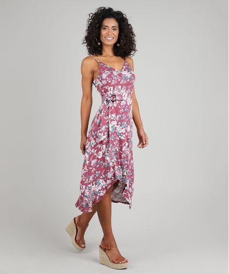 02a7b2277 Vestido Feminino Midi Mullet Estampado Floral com Argola Alças Finas ...