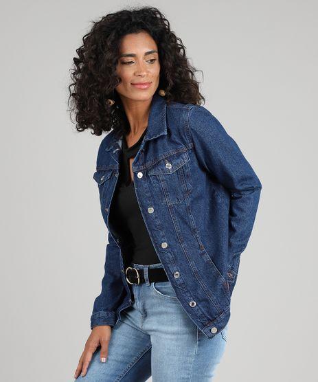 Jaqueta-Jeans-Feminina-Longa-com-Bolsos-Azul-Escuro-9592659-Azul_Escuro_1