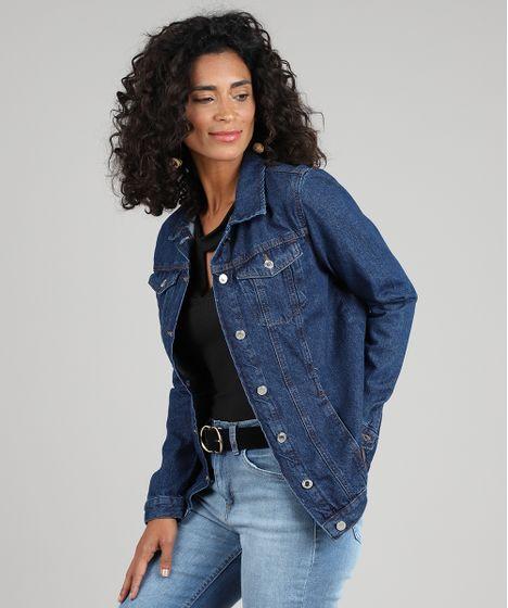 8e8b70f5c13d2 Jaqueta Jeans Feminina Longa com Bolsos Azul Escuro - cea