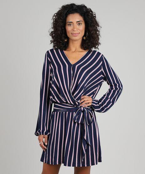 Vestido-Feminino-Curto-Transpassado-Listrado-Manga-Longa-Azul-Marinho-9572447-Azul_Marinho_1