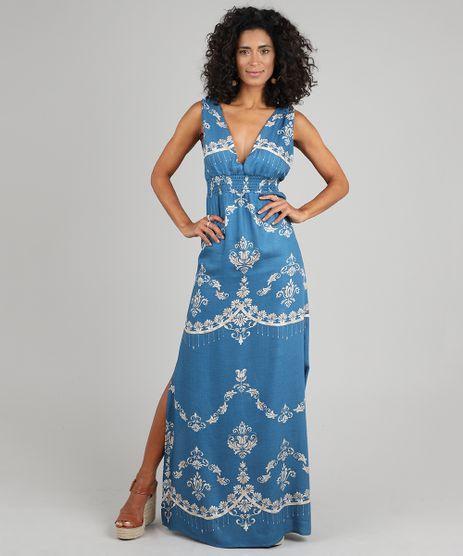 Vestido-Feminino-Longo-Estampado-de-Arabescos-Alca-Larga-Azul-9437844-Azul_1