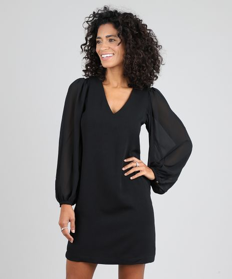Vestido-Feminino-Curto-Manga-Longa-Preto-9444178-Preto_1