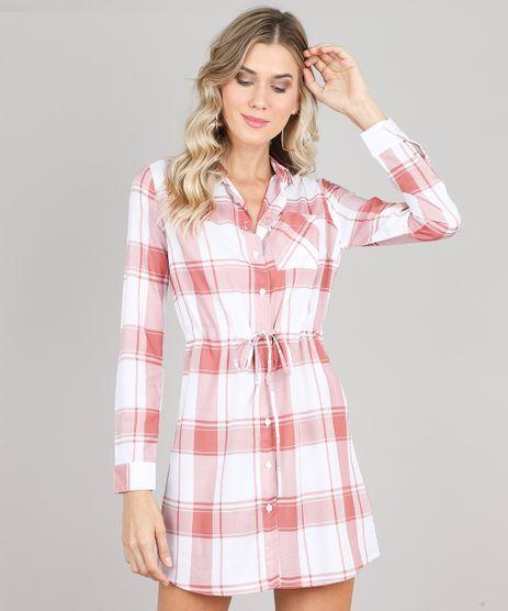 Vestido-Chemise-Feminino-Estampado-Xadrez-Manga-Longa-Branco-9457262-Branco_1