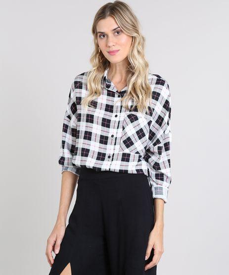 Camisa-Feminina-Ampla-Estampada-Xadrez-com-Bolso-Manga-Longa-Branca-9457224-Branco_1