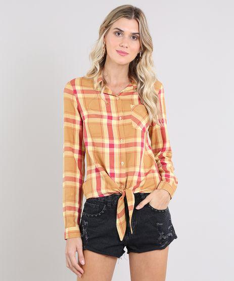 Camisa-Feminina-Estampada-Xadrez-com-No-Manga-Longa-Mostarda-9573169-Mostarda_1