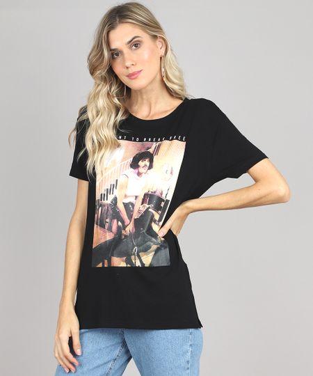 417f056fc Menor preço em Blusa Feminina de Banda Queen Pride Freddie Mercury Manga  Curta Decote Redondo Preta