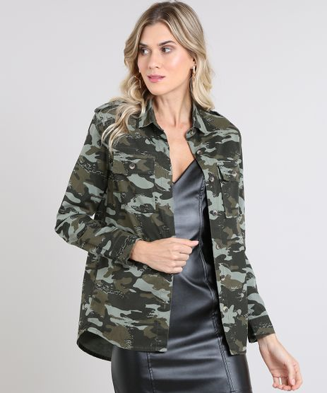Camisa-de-Sarja-Feminina-Estampada-Camuflada-com-Bolsos-Manga-Longa-Verde-Militar-9571383-Verde_Militar_1