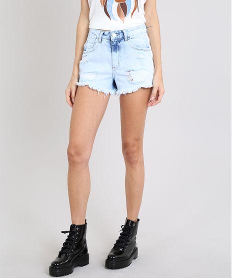 Short-Jeans-Feminino-Vintage-Destroyed-com-Faixa-Lateral--Azul-Claro-9589529-Azul_Claro_1