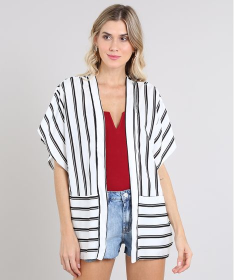 1f5998680 Kimono Feminino Listrado com Recorte Manga Curta Branco - cea