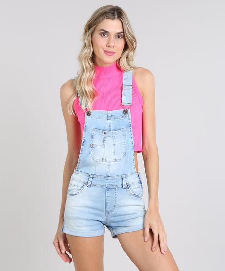 Jardineira-Jeans-Feminina-Reta-com-Bolsos-Azul-Claro-9589543-Azul_Claro_1