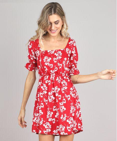 cb7a49fa1 Vestido Feminino Curto Estampado Floral Manga Curta Vermelho - cea