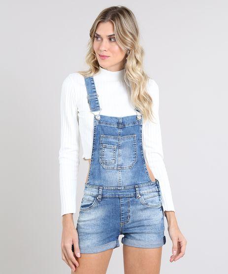 Jardineira-Jeans-Feminina-Reta-com-Bolsos-Azul-Medio-9589542-Azul_Medio_1