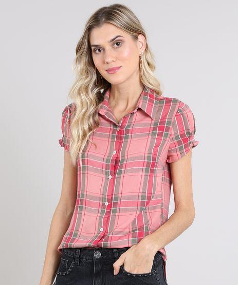 Camisa-Feminina-Estampada-Xadrez-Manga-Curta-Rosa-9573166-Rosa_1