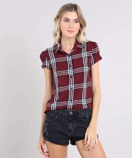 Camisa-Feminina-Estampada-Xadrez-Manga-Curta-Vinho-9573166-Vinho_1