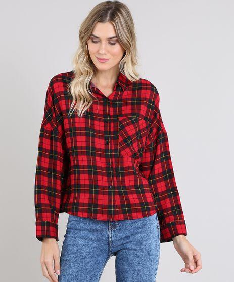 Camisa-Feminina-Ampla-Estampada-Xadrez-Manga-Longa-Vermelha-9457224-Vermelho_1