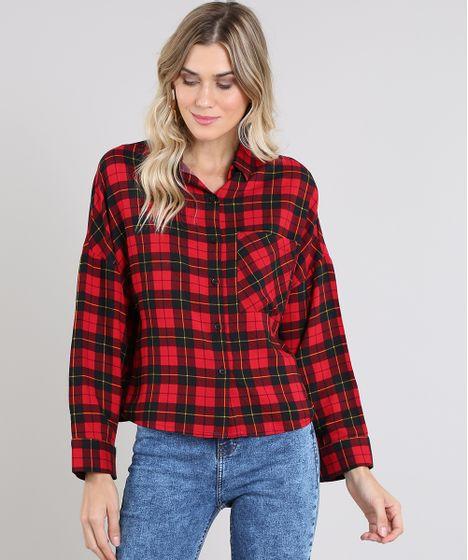 a33e0aa0d928 Camisa Feminina Ampla Estampada Xadrez Manga Longa Vermelha - cea