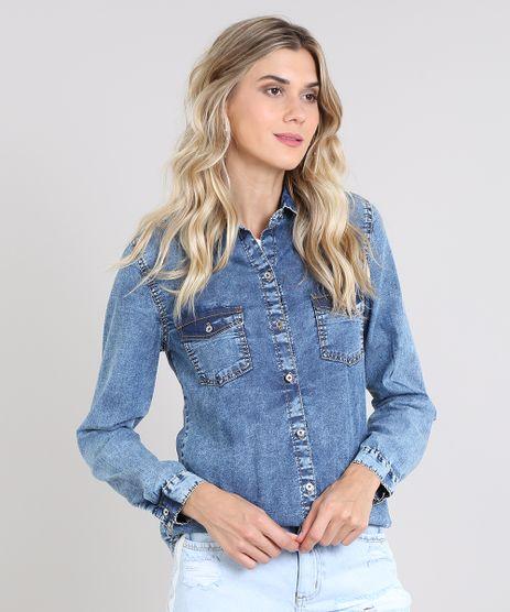 Camisa-Jeans-Feminina-com-Bolsos-Manga-Longa-Azul-Medio-9586468-Azul_Medio_1