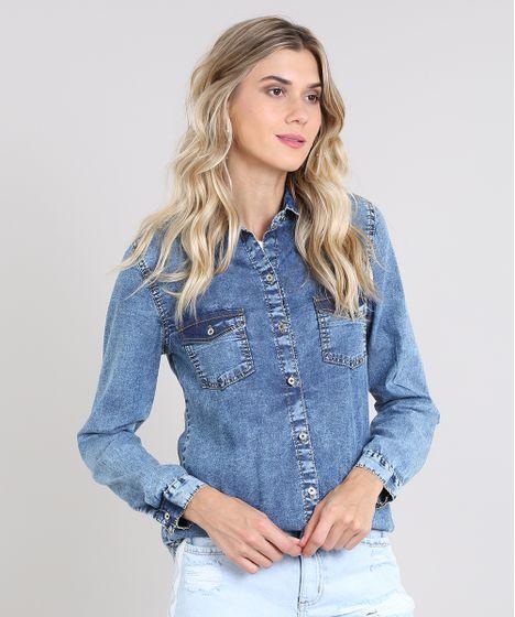 014306adf6e28 Camisa Jeans Feminina com Bolsos Manga Longa Azul Médio - cea
