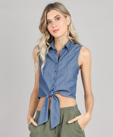 3052877fe3bca Camisa Jeans Feminina com Amarração Sem Mangas Azul Médio - cea
