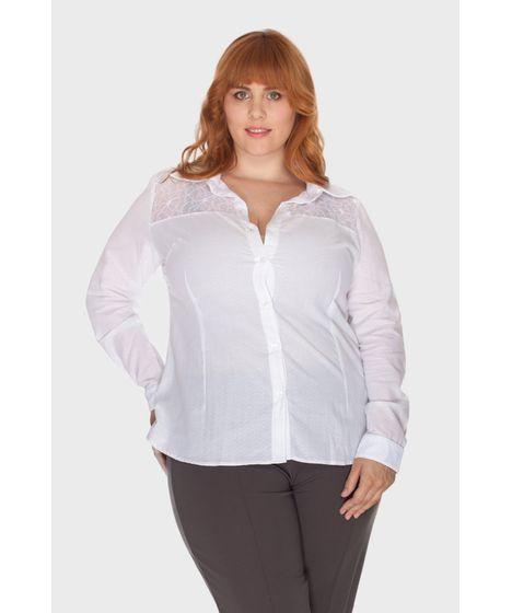 4263b8b125 Camisa Branca Renda Plus Size - cea