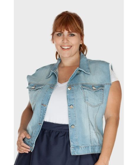 Colete Jeans Médio Plus Size - cea b93e0dafece