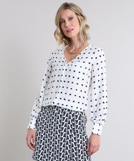 7e11e988ab Camisa-Feminina-Estampada-Manga-Longa-Decote-V-Branca-