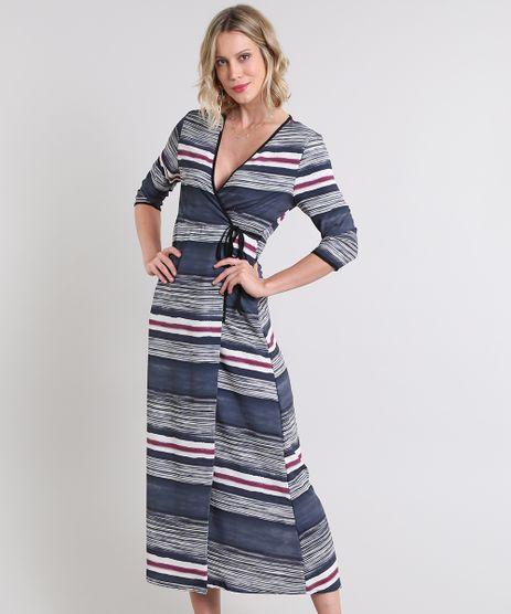 Vestido-Feminino-Longo-Envelope-Listrado-Manga-3-4-Preto-9589887-Preto_1