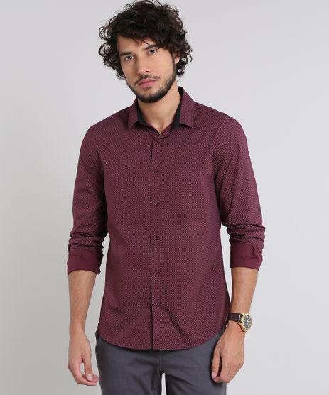 Camisa-Masculina-Slim-Estampada-Mini-Print-Manga-Longa-Vinho-9429413-Vinho_1