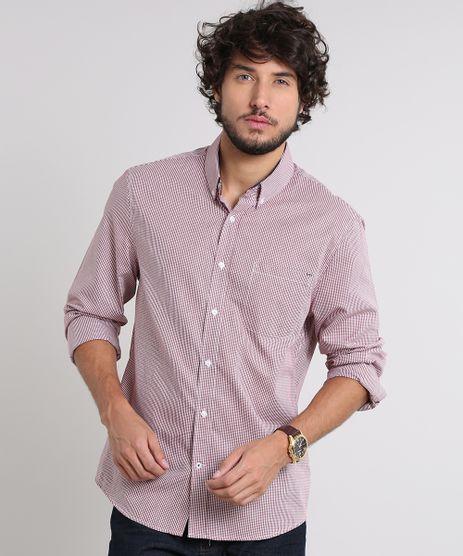 Camisa-Masculina-Comfort-Estampada-Xadrez-com-Bolso-Manga-Longa-Vinho-9530844-Vinho_1