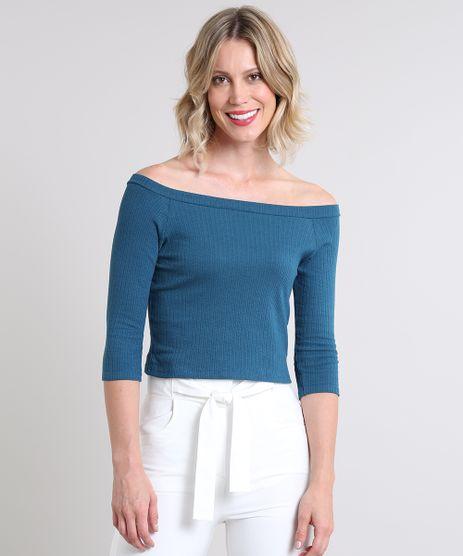 Blusa-Feminina-Cropped-Canelada-Mangas-3-4-Decote-Ombro-a-Ombro-Azul-Petroleo-9513527-Azul_Petroleo_1