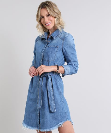 Vestido-Chemise-Jeans-Feminino-com-Faixa-Barra-Desfiada-Manga-Longa-Azul-Medio-9589537-Azul_Medio_1
