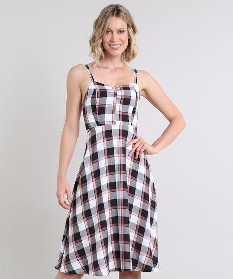 Vestido-Feminino-Estampado-Xadrez-com-Alcas-Finas-Branco-9520264-Branco_1