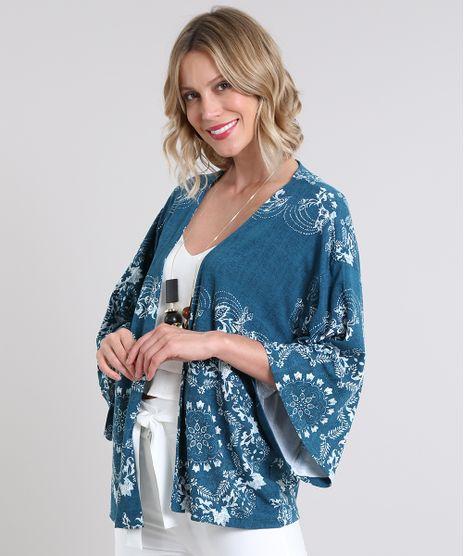Kimono-Feminino-Estampado-de-Arabescos-Manga-Curta-Azul-9579765-Azul_1
