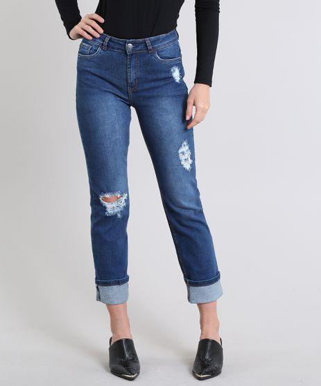 Calca-Jeans-Feminina-Reta-com-Rastros-Azul-Escuro-9586470-Azul_Escuro_1