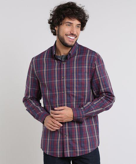 Camisa-Masculina-Comfort-Estampada-Xadrez-Manga-Longa-Vinho-9530843-Vinho_1