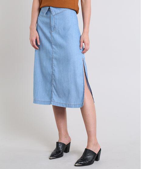 Saia-Jeans-Feminina-Midi-com-Fendas-Azul-Claro-9587510-Azul_Claro_1