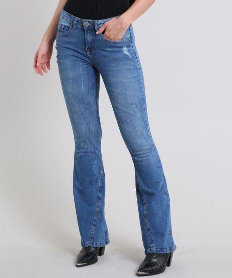 Calca-Jeans-Feminina-Flare-com-Puidos-Azul-Medio-9587495-Azul_Medio_1