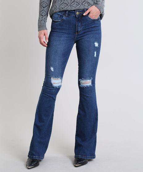 Calca-Jeans-Feminina-Flare-com-Rasgos-Cintura-Alta-Azul-Escuro-9589281-Azul_Escuro_1