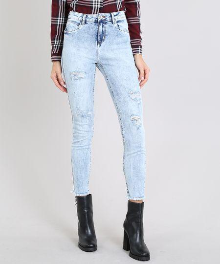 Calca-Jeans-Feminina-Cigarrete-com-Rasgos-Azul-Claro-9596625-Azul_Claro_1