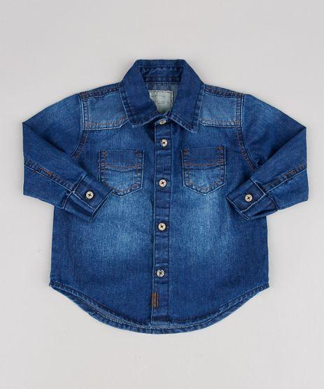 Camisa-Jeans-Infantil-com-Bolsos-Manga-Longa-Azul-Escuro-9527114-Azul_Escuro_1