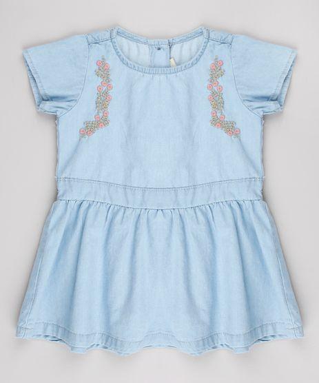 Vestido-Jeans-Infantil-com-Bordado-Manga-Curta-Azul-Claro-9541816-Azul_Claro_1