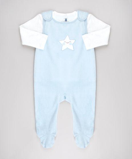 Conjunto-Infantil-de-Camiseta-Estampada-de-Estrelas-Off-White---Macacao-em-Plush-Sem-Manga-Azul-Claro-9451018-Azul_Claro_1